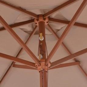 vidaXL Vonkajší slnečník s drevenou tyčou 270 cm sivohnedý