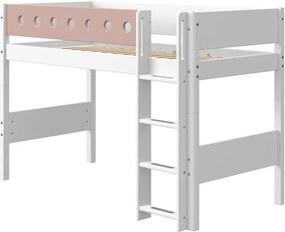 Ružovo-biela detská posteľ Flexa White, výška 143 cm