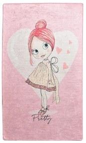 Ružový detský protišmykový koberec Chilam Pretty, 140 x 190 cm