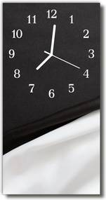 Sklenené hodiny vertikálne  Klasické čierne a biele