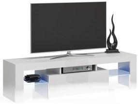 Shoptop TV stolek DEKO RTV 140CM bílý lesk/sklo