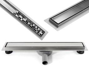 MEXEN Flat nerezový sprchový žľab, 360°otočný sifon, 80 cm - na dlažbu, 2v1