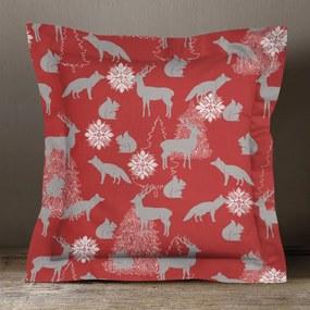Goldea vianočná obliečka na vankúš s ozdobným lemom loneta - vzor vianočné zvieratka na červenom 70 x 90 cm