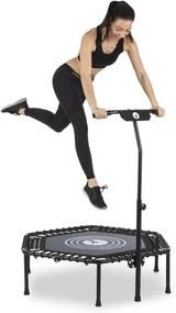 "KLARFIT Jumpanatic fitness trampolína, 44"" / 112 cm Ø, rukoväť, sklápacia, čierna farba"