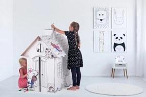 Detský kartónový domček s komínom - Medveď Teddy BANABY