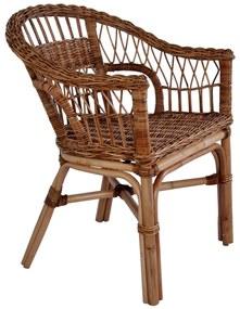 Vonkajšia jedálenská stolička z prírodného ratanu hnedá