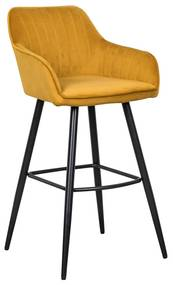 Dizajnová barová stolička Esmeralda horčicový zamat