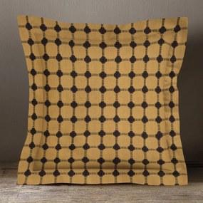 Goldea bavlnená obliečka na vankúš s ozdobným lemom kanafas - vzor hnedé nopky na žltooranžovom 30 x 50 cm