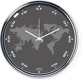 Tmavo šedé zvisle zrkadlené hodiny s mapou