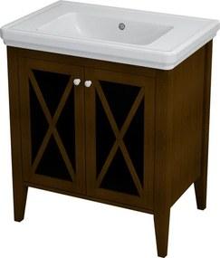 SAPHO CROSS umývadlová skrinka 70x81x47cm, mahagón
