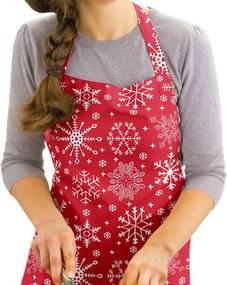 Vianočná kuchynská zástera KANAFAS - vzor snehové vločky na červenom