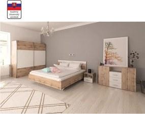 TEMPO KONDELA Spálňový komplet (posteľ 160x200 cm), dub wotan/biela, GABRIELA