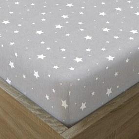 Goldea vianočná bavlnená napínacie plachta - vzor biele hviezdičky na sivom 90 x 200 cm