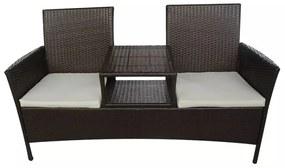 42469 vidaXL Polyratanová lavica so stolíkom pre dvoch, hnedá