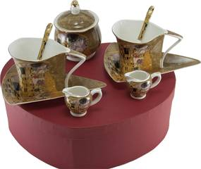 Home Elements Porcelánový set na kávu a čaj - Klimt