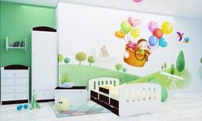 Happy Babies Detská posteľ Happy dizajn/čiarky Farba: Gaštan Wenge / Biela, Prevedenie: L10 / 90 x 200 cm / S úložným priestorom, Obrázok: Čiarky