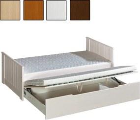 MAXMAX Detská posteľ s výsuvnou prístelkou z MASÍVU 200x90cm so zásuvkou - TOM