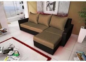 Rohová sedacia súprava KRISTER BIS, hnedá + čierna