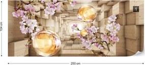 Fototapeta GLIX - 3D Wood And Flowers Tunnel + lepidlo ZADARMO Vliesová tapeta  - 250x104 cm
