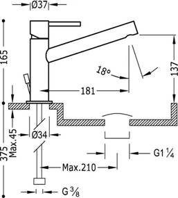 MAX-TRES Umývadlová jednopáková batéria dlhé ramienko (06220301D)