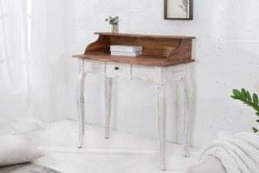 Dizajnová konzola Provence 80 cm / biela - mahagónová