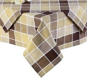 Bavlnené obrusy kocka hnedobéžová