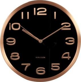KARLSSON Nástenné hodiny Maxie medené čierne