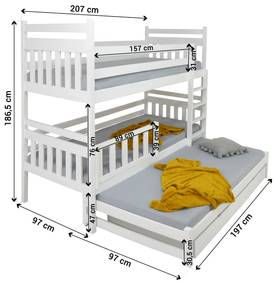 FA Petra 5 200x90 poschodová posteľ s prístelkou Farba: Prírodná, Variant rošt: S roštami