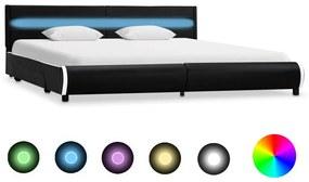 vidaXL Posteľný rám s LED, čierny, umelá koža 180x200 cm