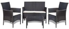 7-dielna záhradná sedacia súprava, čierna, polyratanová