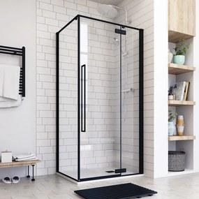 Aquatek JAGUAR R13 100 × 80 Sprchovací kút čierny matný, číre sklo 8 mm, 100 × 80 × 200 cm