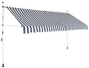 Ručne zaťahovacia markíza, 350 cm, modro-biele pásiky