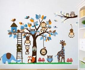ZooYoo detská nálepka na stenu zvieratká - svet šibalstiev 186 x 95 cm