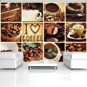 Fototapeta - I love coffee - koláž (254x184 cm), 10 ďalších rozmerov