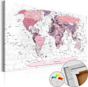 Obraz na korku mapa v ružových tónoch - Pink Frontiers