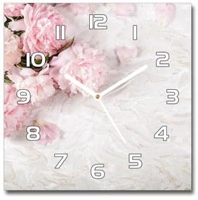 Sklenené nástenné hodiny štvorec Pivonky pl_zsk_30x30_f_89916715