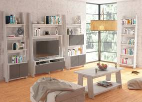 MEBLOCROSS Rack obývacia izba craft biely / grafit