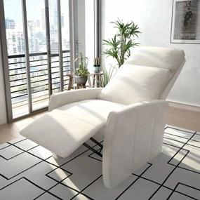 vidaXL Sklápacie TV kreslo, biele, umelá koža