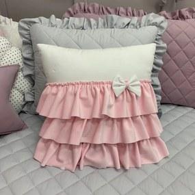 Vankúšik so sukničkou a mašličkou,púdrovo ružový