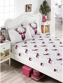 Set obliečky a 2 obliečok na vankúše s prímesou bavlny na jednolôžko EnLora Home Geyik Claret Red, 100 × 200 cm
