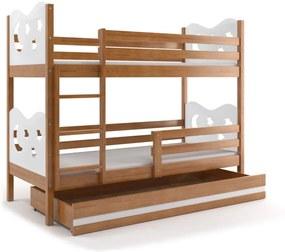 Poschodová posteľ MAX - 190x80cm - Hviezda - Jelša - Biela
