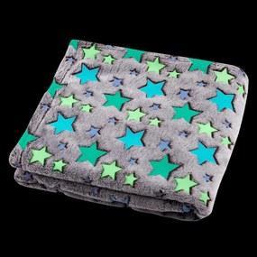 Svietiaca deka z mikrovlákna FILANTE-LICORNE hviezdy 130 x 160 cm