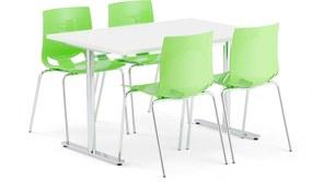 Jedálenská zostava: Stôl Tilo + 4 stoličky Juno, zelené