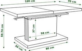 Mazzoni ASTON lesklý - rozkladací, zdvíhací, konferenčný stolík, čiernobiely