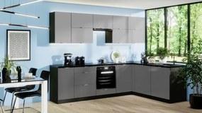 Rohová kuchyňa Mindy pravý roh 270x180 cm (sivá matná)