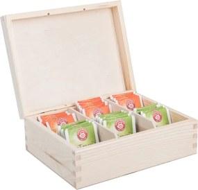 Drevobox Drevená krabička na čaj (6 priehradiek)