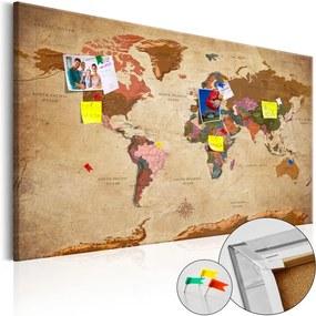 Obraz na korku - World Map: Brown Elegance [Cork Map] 90x60 cm