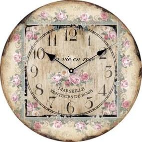 Isabelle Rose Drevené nástenné hodiny La Vie En Rose 15 cm