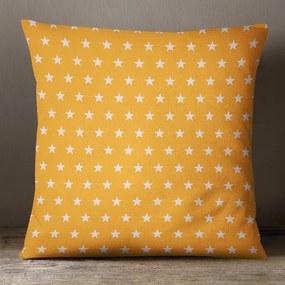 Goldea bavlnená obliečka na vankúš - vzor biele hviezdičky na oranžovém 50 x 50 cm