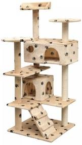 vidaXL Škrabadlo pre mačky so sisalovými stĺpikmi, 125 cm, béžové s potlačou labiek